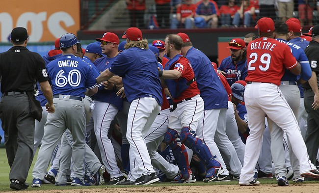 Fights break out in Major League Baseball game between Toronto and Texas