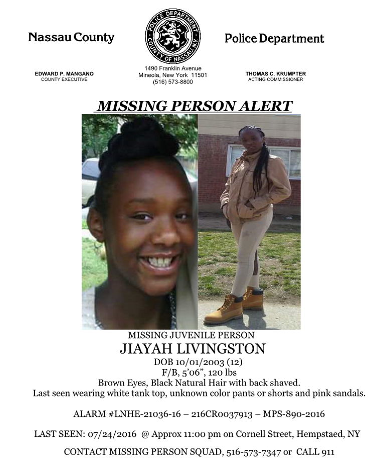 CANCELLED - Missing Juvenile Alert: 12-Year-Old Girl from