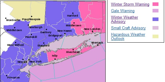 NWS Issues Winter Storm Warning for Suffolk County & Winter Weather Advisory for Nassau County