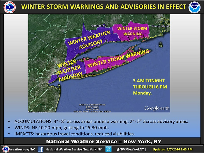 Winter Storm Mars to Bring 2-5 Inches of Snow to Nassau, 4-8 More Inches to Suffolk