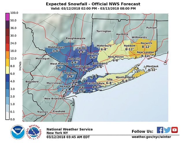 Eastern Long Island is braced for 8 to 12 inches of snow