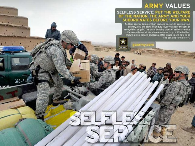army value selfless service The seven army values are the foundation of the army respect, selfless service, honor and self-respect is a vital ingredient with the army value of.