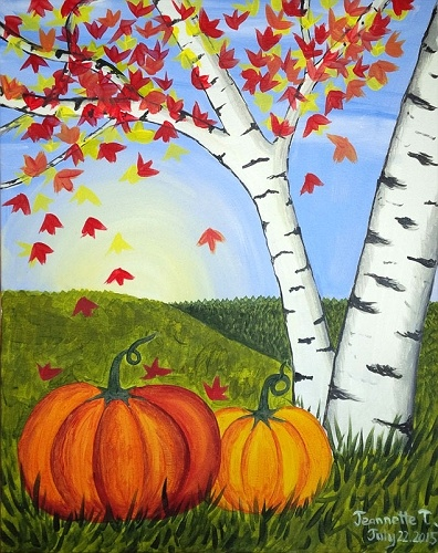 Paint nite fall pumpkins for Fall paintings easy