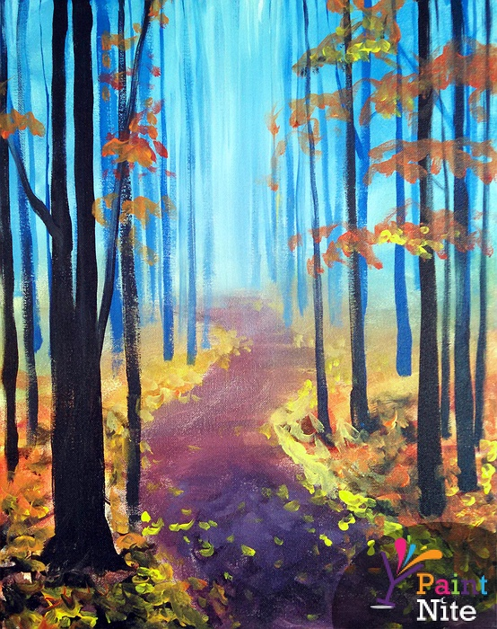 Paint nite a walk in the fall for Fall paintings easy