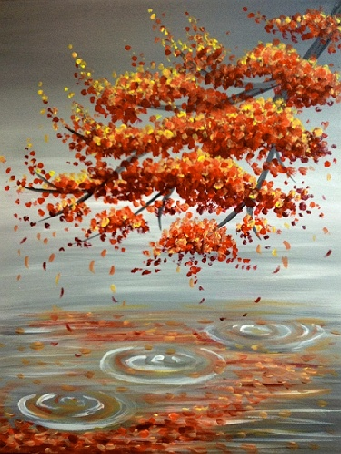 Paint nite sugar maple reflection for Fall paintings easy