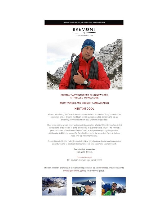 Bremont adventures club welcomes kenton cool mountaineer and bremont ambassador in new york
