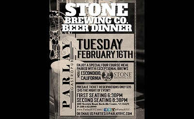 Stone Brewing Co Four Course Beer Dinner