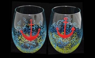 Paint Nite: Anchors Away Stemless Glasses
