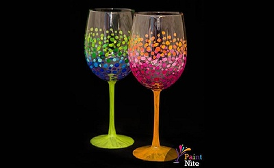Paint Nite: Colorful Circles Wine Glasses