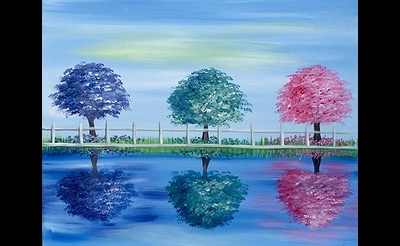 Paint Nite: Three Trees In Spring