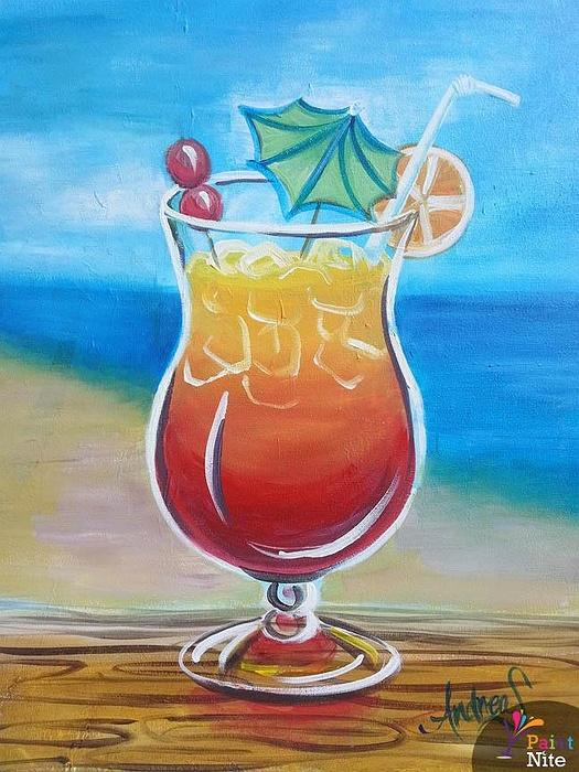 Cocktail Art Print Watercolor Art Summer Drink Amaretto