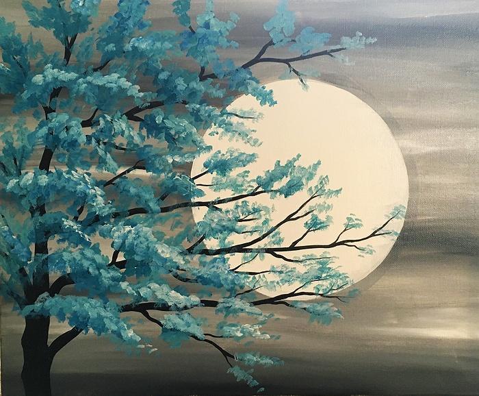 Paint Nite Teal Tree In Moonlight