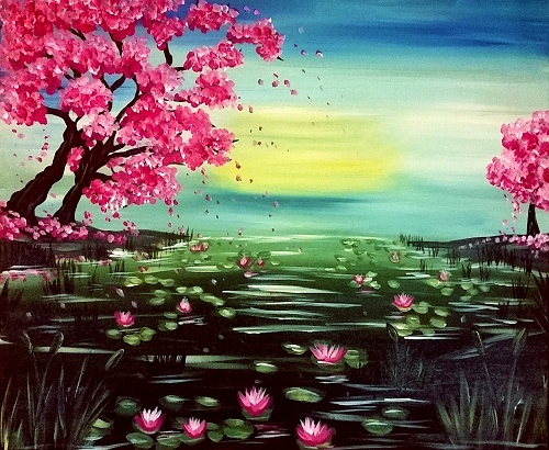 Long Island Colleges >> Paint Nite: Cherry Blossom Pond