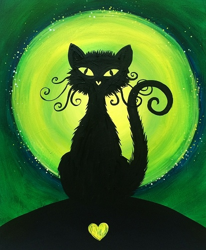 Paint Nite Lovely Black Cat