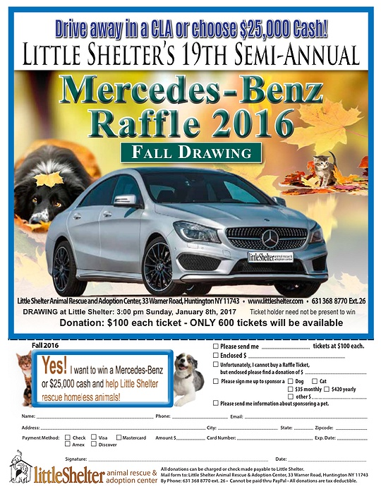 Little shelter 39 s 19th semi annual mercedes benz raffle for Mercedes benz raffle 2017