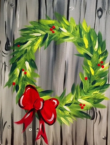 Paint nite holiday red bow wreath for Paint night home parties