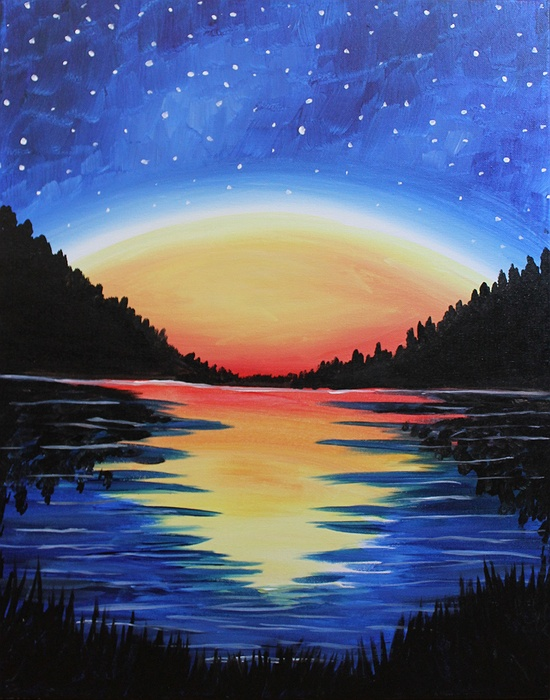 Paint nite high peaks starry night for How to come up with painting ideas