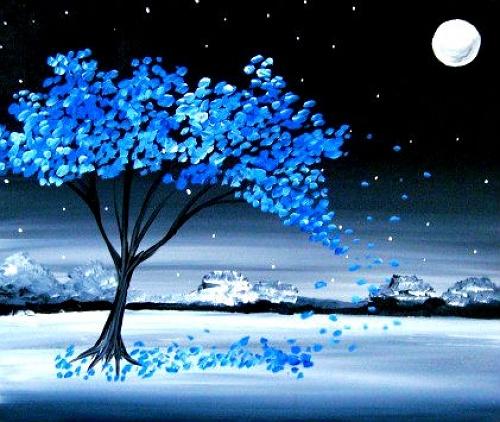 Paint Nite Blue Winter Plain