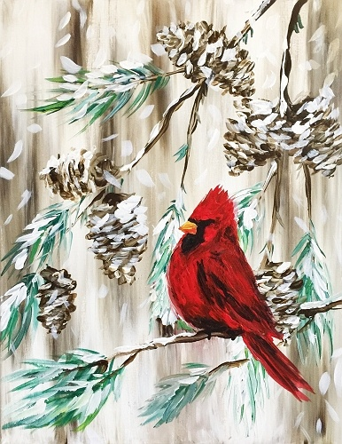 Used Car Dealers London >> Paint Nite: Red Cardinal in a Winter Pine