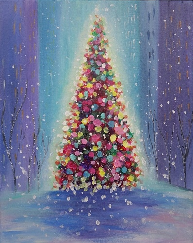 Paint nite christmas in the city for Paint night home parties