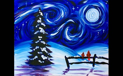 Paint Nite: Starry Winter Sky