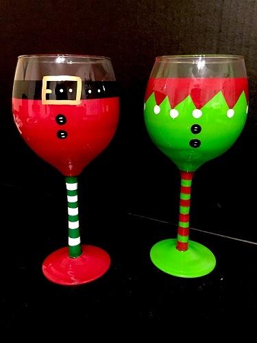Used Cars Long Island >> Paint Nite: Santa & Elf Wine Glasses
