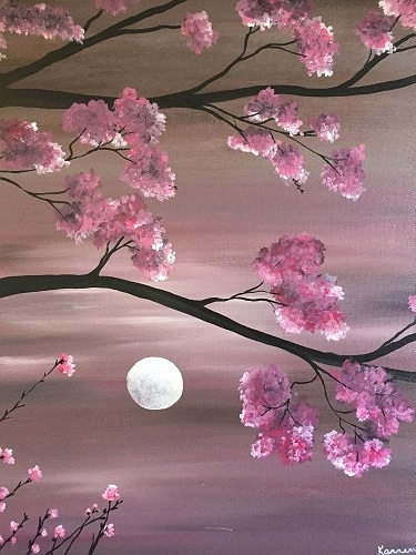 Paint Nite Cherry Blossom Moonlight II