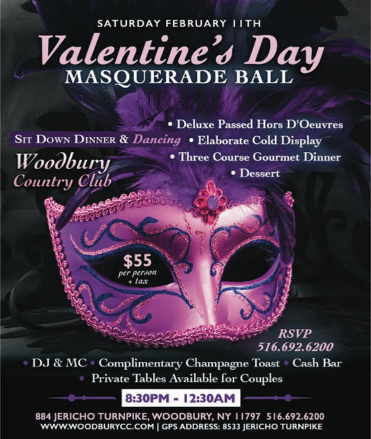 Valentine 39 s day masquerade ball at woodbury country club for Long island dulux valentine