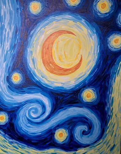 Paint nite your starry night for Wine and painting mn