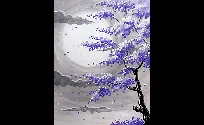 Paint Nite: Full Moon Purple Blossoms
