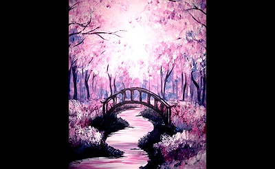 Paint Nite: Bridge Under The Cherry Blossoms