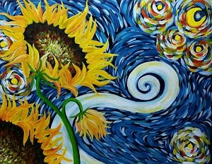 Paint The Town Sunflower Starry Night