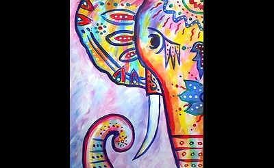 Paint Nite: Rainbow - The Boho Elephant