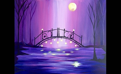 Paint Nite: Magical Moonlit Violet Bridge