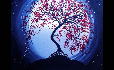 Paint Nite: Blue Moon Cherry Blossoms