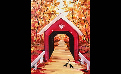 Paint Nite: Love Birds Under Covered Bridge
