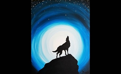 Paint Nite: Moonlight Howl Blue