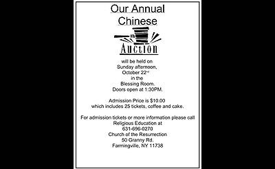 Church of the Resurrection's Annual Chinese Auction