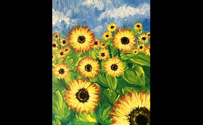 Paint Nite: Field of Sunflower Blooms