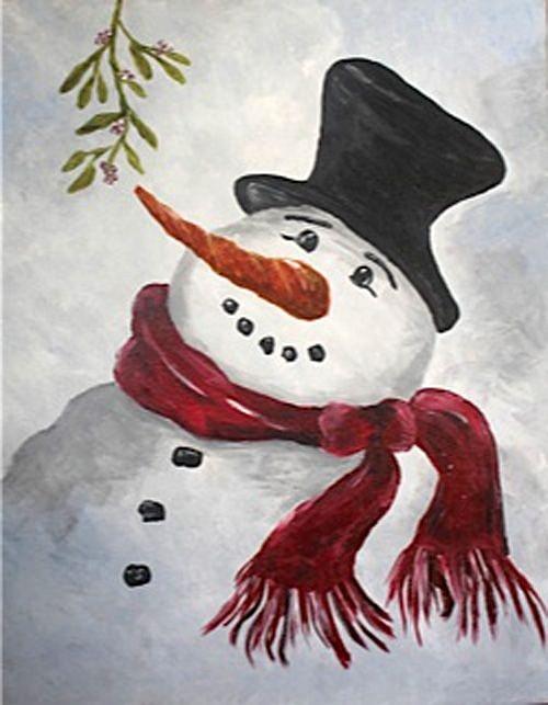 Hand Painted Snowman Head
