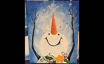 Catching Snowflakes Illuminated Painting at Pinot's Palette