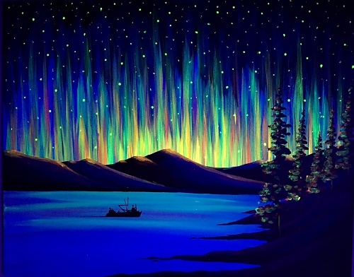 Paint Nite Black Light Northern Lights The Way