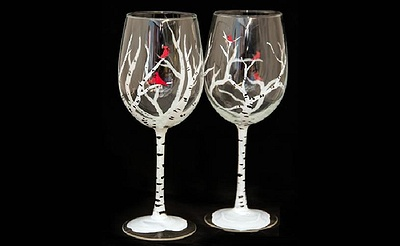 Paint Nite: Winter Birches Wine Glasses