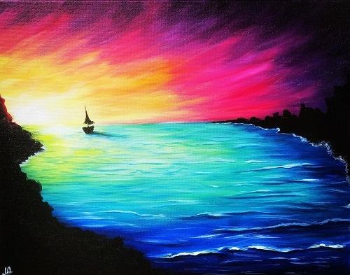 Used Cars Dealers >> Paint Nite: Rainbow Sunset Sail