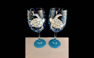 Paint Nite: Sea Turtle Wine Glasses II