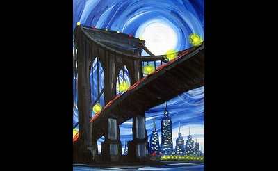 Paint Nite: Blue Moon Over Brooklyn Bridge