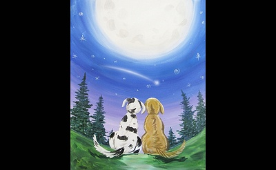 Paint Nite: Dogs Star and Moon Gazing