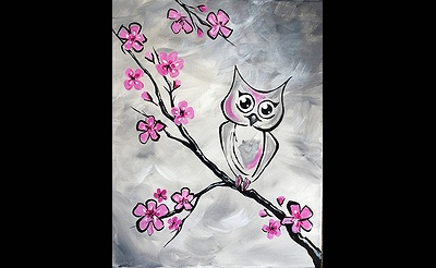 Paint Nite: The Owl In The Cherry Blossom Tree