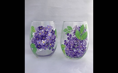 Paint Nite: Lilac Sippers Wine Glasses