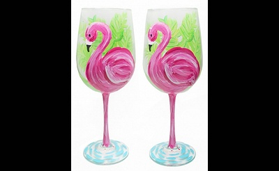 Paint Nite: Flamingo Wine Glasses